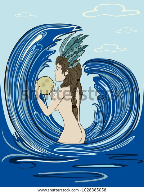 Vector illustration of a woman in the sea holding the moon, showing her internal feminine power. Good for the International Women's Day.