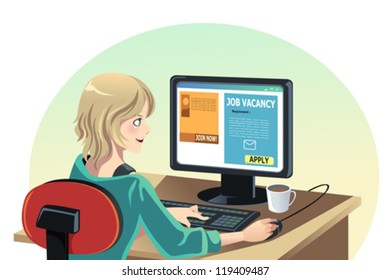 A vector illustration of a woman searching for a job online