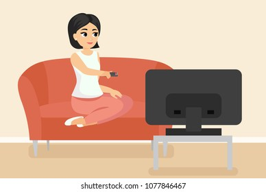 Vector illustration of woman sitting on couch watching TV. Young adult girl on sofa in front of television screen in cartoon flat style.