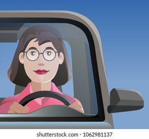 Vector illustration, woman smile driving