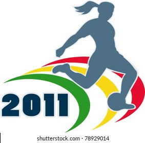 vector illustration of a woman soccer player silhouette kicking the ball with words 2011