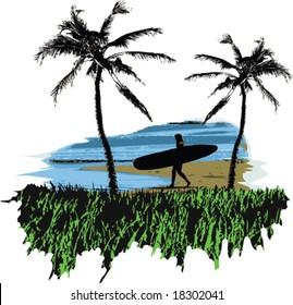 A vector illustration of a woman surfer on the beach