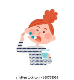 vector illustration of a woman taking medicines