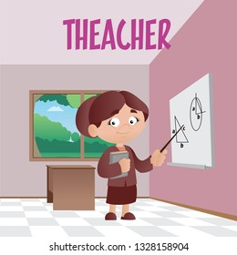 Vector illustration of woman teacher