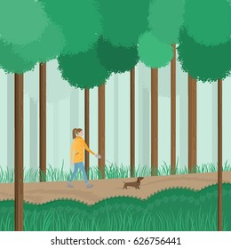 Vector illustration with woman walking the dog in park