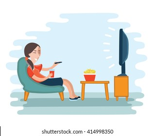 Vector illustration of woman watching television armchair and sitting in chair, drinking