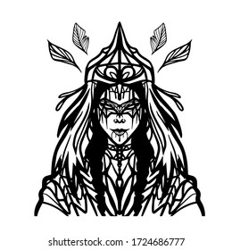 vector illustration of woman wearing ethnic headdress and mask, spiritual, tattoo design, outline art of female shaman with face paint, coloring