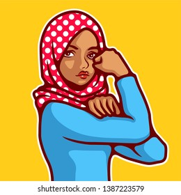 Vector Illustration Woman wearing hijab in classic Rosie the Riveter pose. - Vector