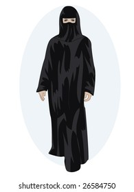 vector illustration of a woman wearing a hijab and jilbab