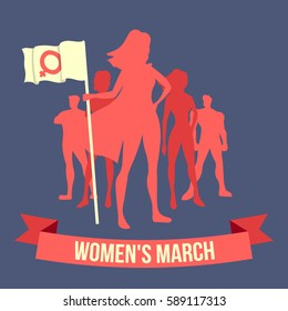 "Vector illustration of the woman which is holding a flag with female symbol and ""Women's March"" lettering on dark blue background. Women's March is a worldwide movement for rights and equality."