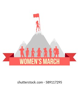 "Vector illustration of the woman which is staying on the top of the mountain and holding a flag on white background with ""Women's March"" lettering. Female worldwide movement for rights and equality."