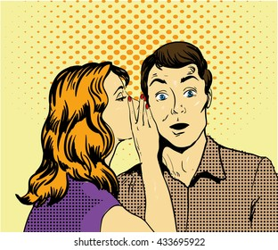 Vector illustration with woman whispering to a man, pop art comic style