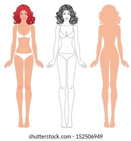 Vector illustration of woman's body. Silhouettes. Three options (drawing, outline and silhouette) Redhead girl.