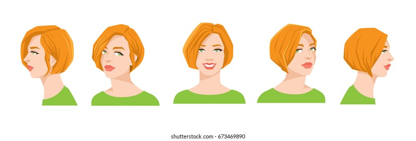 Vector illustration of woman's face on white background. Various turns heads. Face in side view, front view and half-turn. Women with bob hairstyle