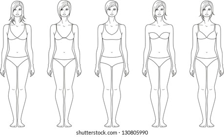 Vector illustration of woman's figure. Different hairstyles and underwear