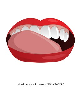 Vector illustration with woman's mouth with clean white teeth, red lips and tongue licking teeth.