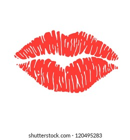 vector illustration of a woman's red lipstick marks, from a kiss
