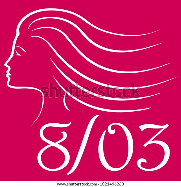 Vector illustration of a woman's silhouette over a curly sign with the date of the International Women's Day (eight of march)