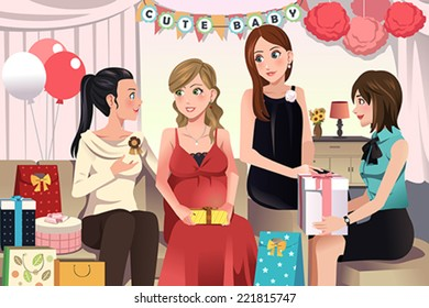 A vector illustration of women in a baby shower party