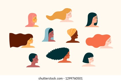 Vector illustration with with women different nationalities and cultures. Struggle for freedom, independence, equality.