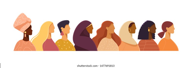 Vector illustration with women of different nationalities. Struggle for freedom, independence, equality. Ethnic beauty. Different women: African, Asian, European, Muslim. Flat design, white isolated