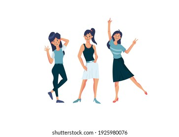 Vector illustration with women different style