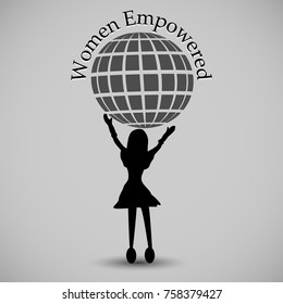 Vector Illustration of Women Empowered, Concept of Teamwork, Unity, Strength Leadership and Courage