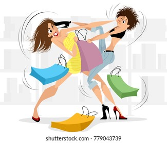 Vector illustration of women fighting in the store