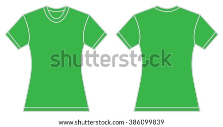 c3448cbfc Vector illustration of women green shirt, front and back design, isolated  on white