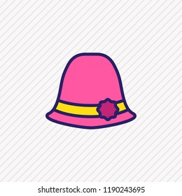 Vector illustration of women hat icon colored line. Beautiful clothes element also can be used as sunstroke icon element.