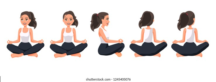 Vector illustration of women in lotus position under the white background.Cartoon realistic people illustration practicing yoga. Flat young woman. Front view girl, Side view girl, Back side view girl.
