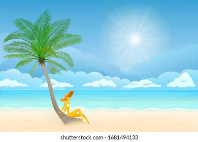 Vector illustration, women on the beach. Ocean on background. Banner, site, poster template. Paradise beach.