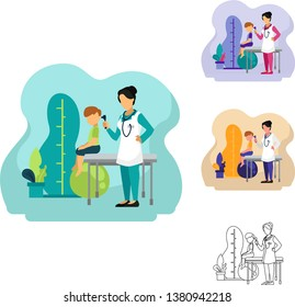 Vector Illustration of women Pediatric doctors doing ear check medical treatment on a boy patient in clinic hospital. It'll be suitable for banner, homepage, infographic, poster, flyer, website, etc