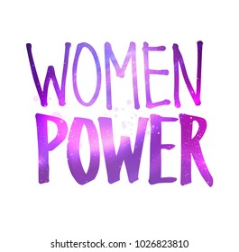 Vector illustration of Women Power lettering with glowing ultraviolet outer space inside.