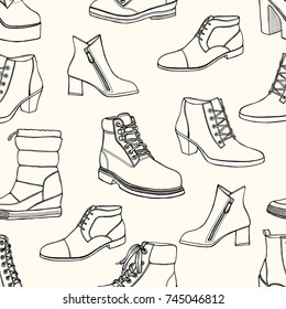 Vector illustration of Women seamless Hand drawn pattern with winter shoes. Fashion elegance footwear for female. Comfort for legs.