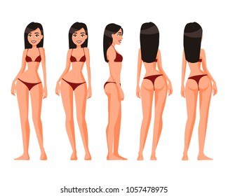 Vector illustration of women in underwear on the white background.Vector cartoon realistic people illustration. Flat young woman. Front view girl, Side view, Back side view , Isometric view. Slim girl
