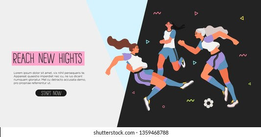 Vector illustration of women in a uniform playing soccer, football. Creative banner, poster or landing page for woman soccer game or club.