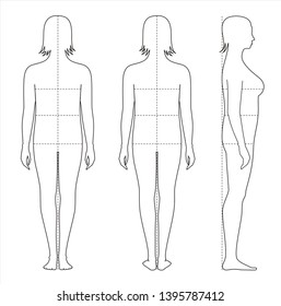 Vector illustration of women's body proportions and measurements for clothing design and sewing. Type with increased fat deposition and musculature in the upper body. Front, back, side views