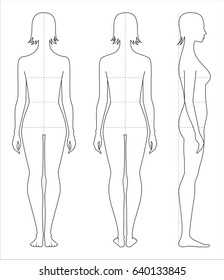 Vector illustration of women's body proportions and measurements for clothing design and sewing. Front, back side views
