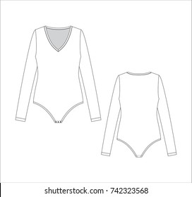 Vector illustration of women's bodysuits. Front and back