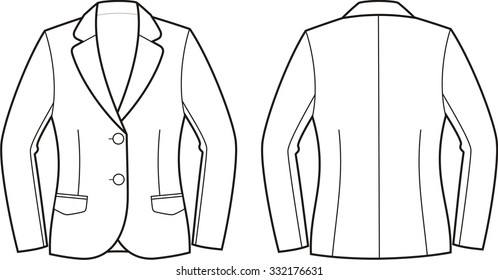 Vector illustration of women's business jacket. Front and back views