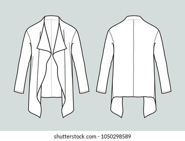 Vector illustration of women's cardigan. Front and back
