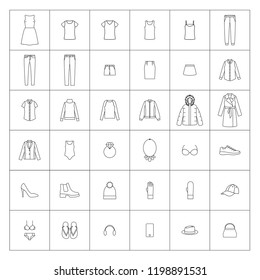 Vector illustration of women's clothing icons, line style.