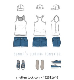 Vector illustration of women's clothing set - tank top, jeans shorts, baseball cap, sneakers. Blank wear templates in front, back, side views for fashion design. Isolated on white background.