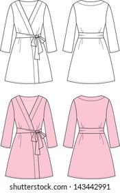 Vector illustration of women's dressing gown. Front and back views