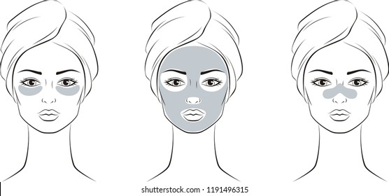 Vector illustration of women's head in towel with cosmetic mask on face