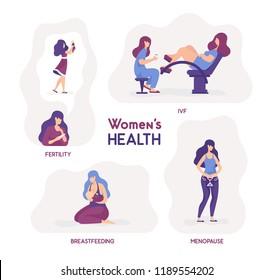Vector illustration women's health. Fertility, ivf, breastfeeding, menopause