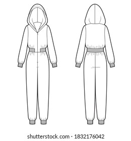 Vector illustration of women's hooded maxi jumpsuit. Front and back