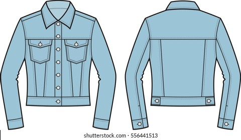 Vector illustration of women's jean jacket. Clothes in denim style. Front and back