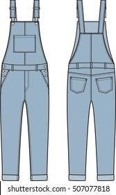 Vector illustration of women's jean overall. Clothes in denim style. Front and back views